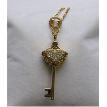 Key with Crystal Heart Pendant Gold