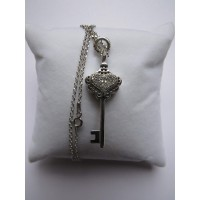 Key with Crystal Heart Pendant Silver